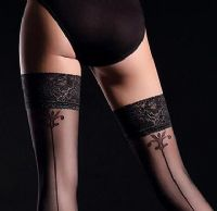 Black Seamed Lace Top Holdup Stockings, Guilia Allure